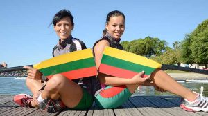 The Lithuanian women's double sculls, Donata Vistartaite and Milda Valciukaite pose at the 2013 European Rowing Championships in Seville, Spain