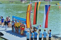 Dominykas Jancionis and Aurimas Adomavicius (LTU) on the podium after winning gold medal in the men's double scull at the 2013 U23 World Championships in Linz-Ottersheim, Austria