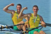Dominykas Jancionis and Aurimas Adomavicius (LTU) celebrate winning gold at the 2013 U23 World Championships in Linz-Ottersheim, Austria